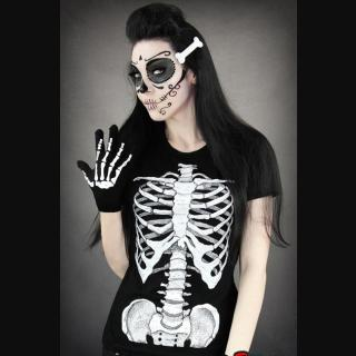 e6e96a1d Skeleton Ribs Printed Ladies Black T-Shirt by Restyle