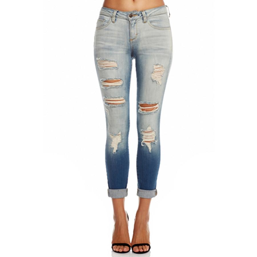 Tie dye two tone distressed denim jeans
