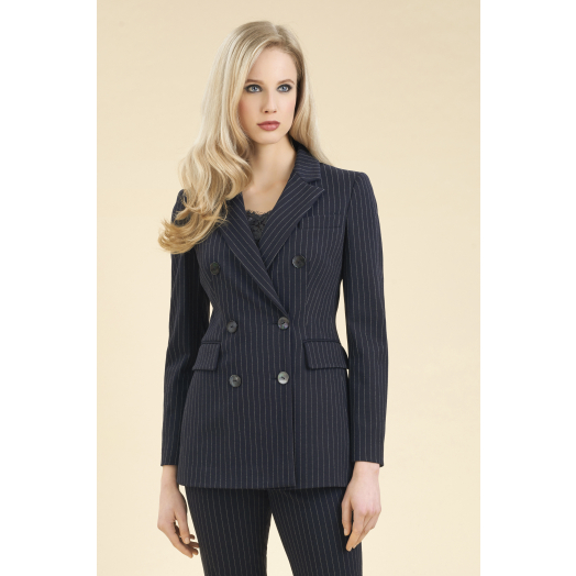 Pinstripe double-breasted jersey jacket Luisa Spagnoli