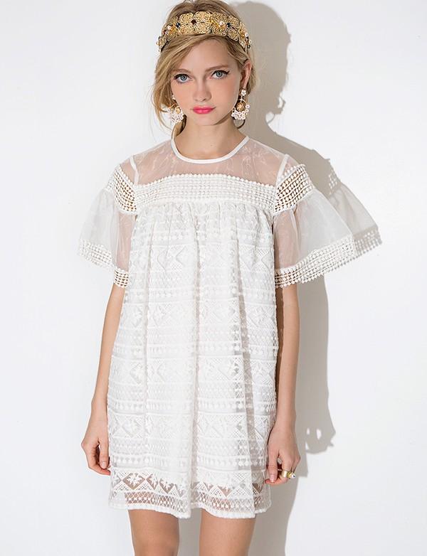 White Lace Babydoll Dress - Lace Party Dress -