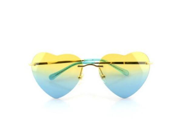 ff305c9cd6 sunglasses yellow heart sunglasses tumblr ombre tinted sunglasses tinted  aviators blue heart heart shape