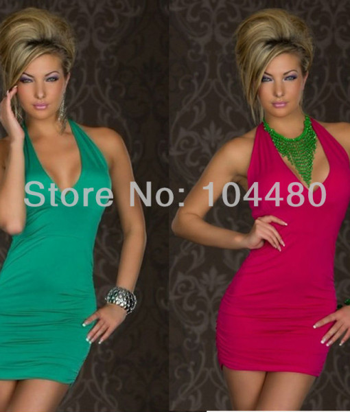 summer dress 2014 New Fashion Women Sexy Halter Backless Ruched Clubwear Mini Party Sexy Dresses   Amazing Shoes UK