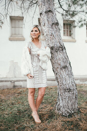 wild one forever - fashion & style by kristin,blogger,dress,coat,jewels,shoes,fur coat,white fur coat,white fur jacket,silver dress,mini dress,party dress,high heel pumps,pumps