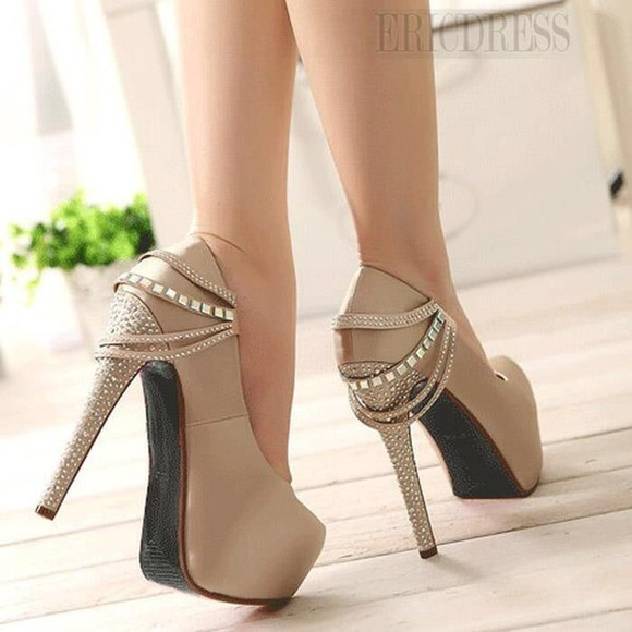 beige fashion pumps cute shoes fancy heels
