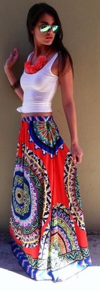 boho jewels skirt maxi slittare paisley summer print red shirt