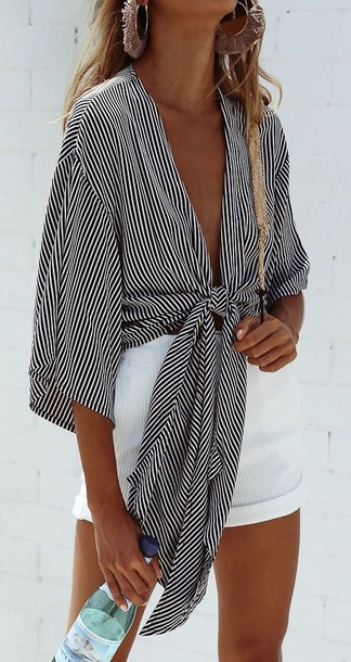 blouse black and white stripes crop tops tie-front top loose cute city outfits new york city summer spring fall outfits winter outfits chic love striped top striped shirt white white and black tshirt