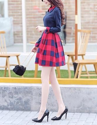 dress red skirt blue dress shoes bag