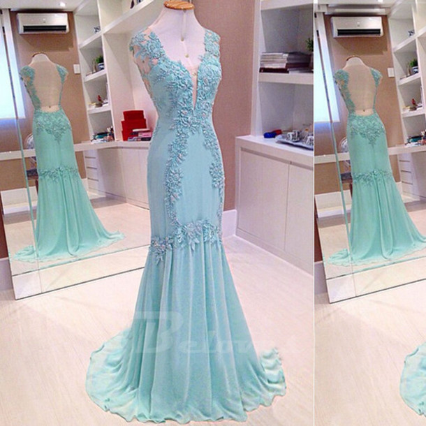 dress ice blue chiffon v neck evening gown lace appliques evening gown