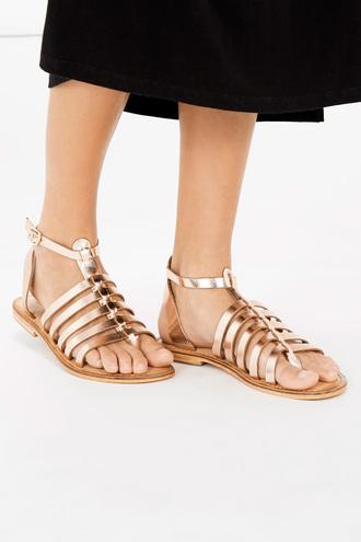 shoes metallic shoes gladiators sandals flats rose gold