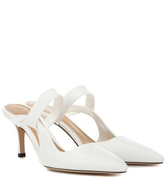 The Row Gala Twist leather mules in white
