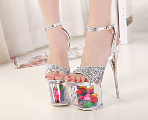 shoes high heels platform fashion sandals floral summer women new
