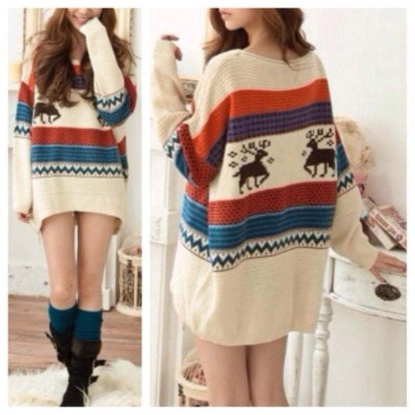 sweater deer pattern christmas sweater holidays winter sweater