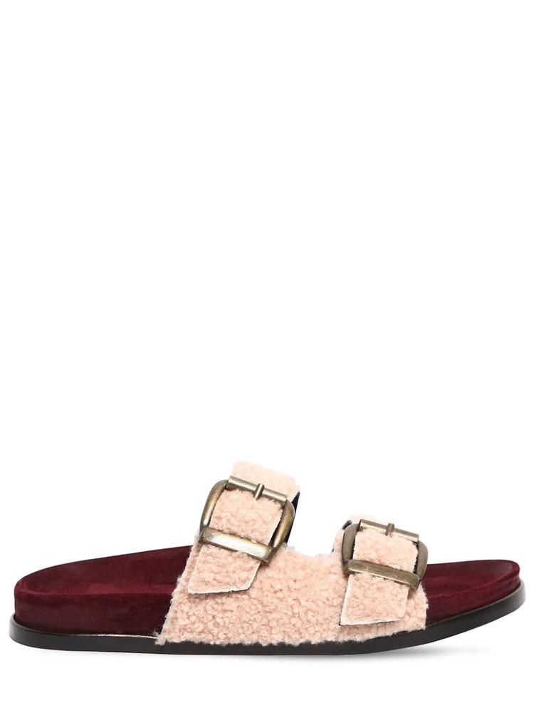 AVEC MODÉRATION 20mm Shearling Slide Sandals in pink