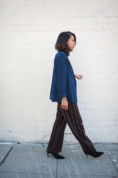 pants,tumblr,office outfits,stripes,striped pants,wide-leg pants,blazer,blue blazer