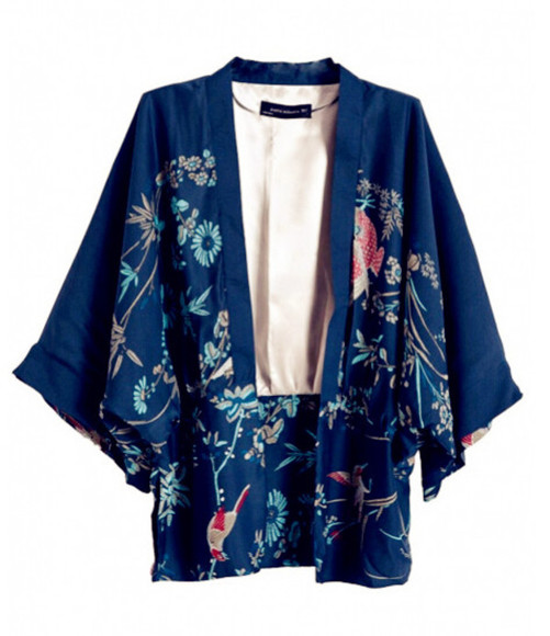 sweater shirt cardigan clothes fashion top jacket coat outfit kimono kimono floral floral floral shirt plant print birds shirt japanese blackfive blazer