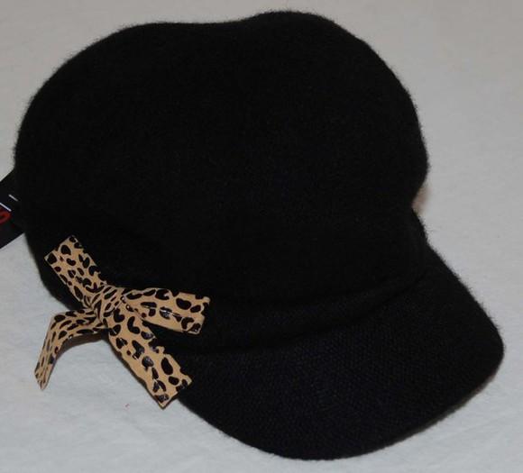 cap leopard print wool cabby newsboy hat