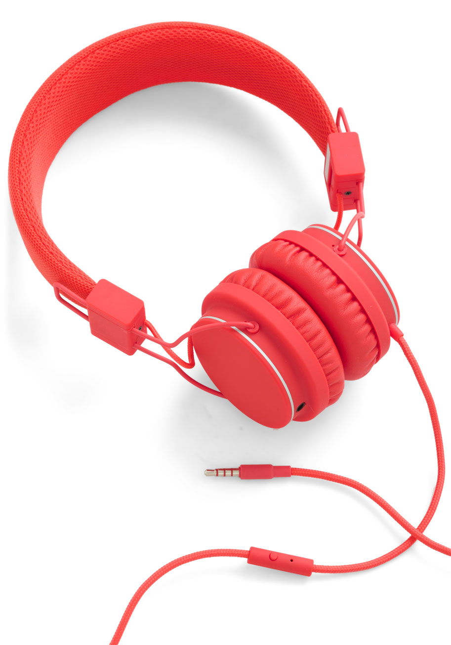 Thoroughly Modern Musician Headphones in Tomato