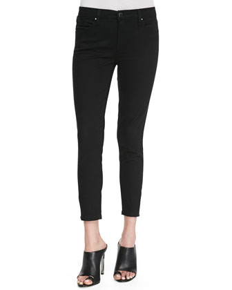 Blank Skinny Cropped Zip-Ankle Jeans, Black