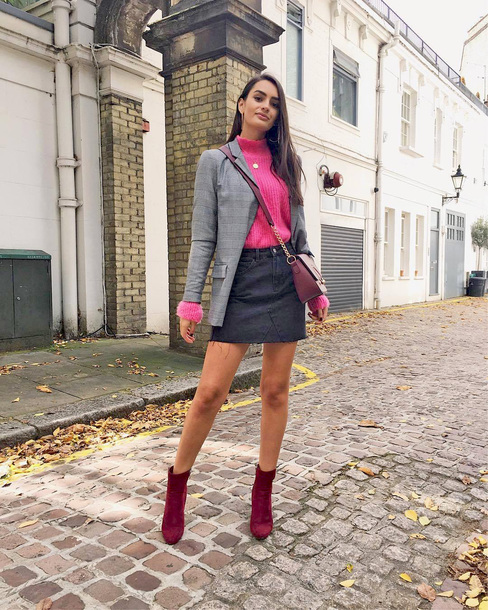 sweater tumblr pink sweater knit knitwear knitted sweater blazer grey blazer skirt mini skirt denim skirt boots ankle boots red boots