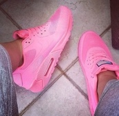 shoes,air max,high top sneakers,high,top,pink,nike,neon,fluo,nike air max 90,pink shoes,nike air