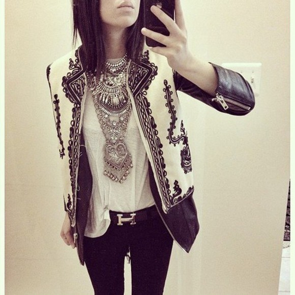 jacket leather jacket printed black and white jewels belt fashion leather black white contrast cute punk fock rock pop design pattern