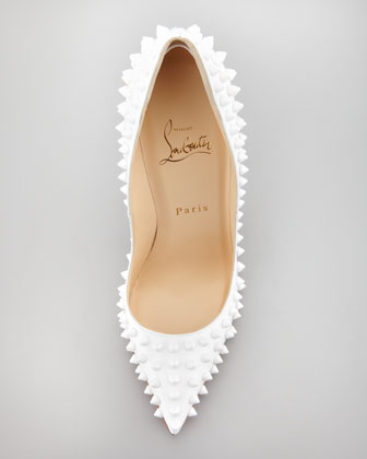 Best selling christian louboutin pigalle spiked patent red sole pump chalk