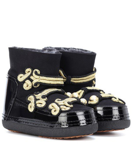 INUIKII leather ankle boots embellished ankle boots leather black shoes