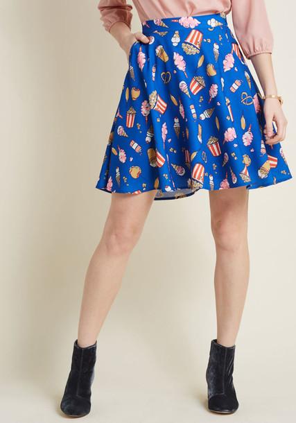 skirt mini skirt mini candy skater number cotton blue pattern