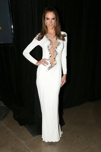 dress white dress wedding dress gown alessandra ambrosio prom dress sexy