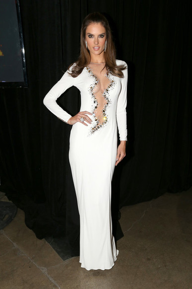 gown prom dress dress white dress wedding dress alessandra ambrosio sexy