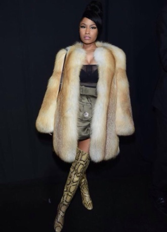 coat white sexy hot bad bitch nicki minaj fur coat fur beige fur jacket