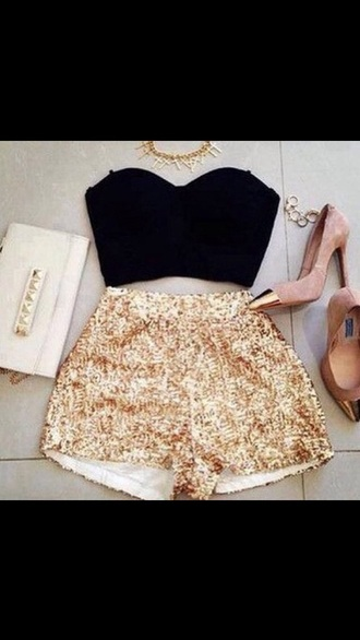 shorts sparkly gold top shoes