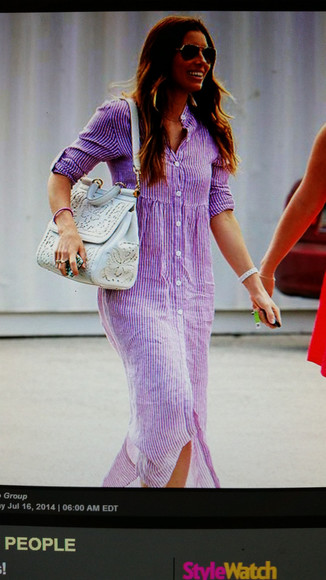 jessica biel long shirt dress lavender dress striped dress
