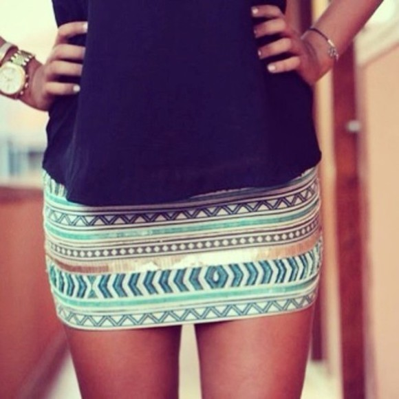 skirt turquoise gold stripes