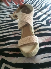 shoes,braided white wedges