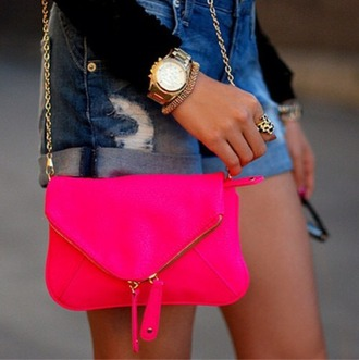 bag purse chain small hot pink fold over bag gold accents