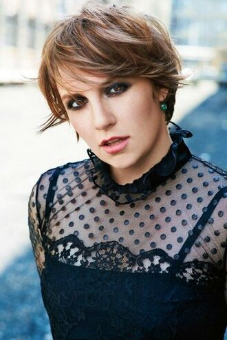 make-up lena dunham celebrity actress mesh top lace top black top polka dots eye makeup short hair