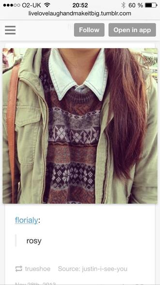 sweater denim colorful jacket knitted sweater winter sweater long hair tribal pattern