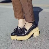 shoes,shanghai trends,platform shoes,chunky,black,shanghaitrends,aw17,loafers