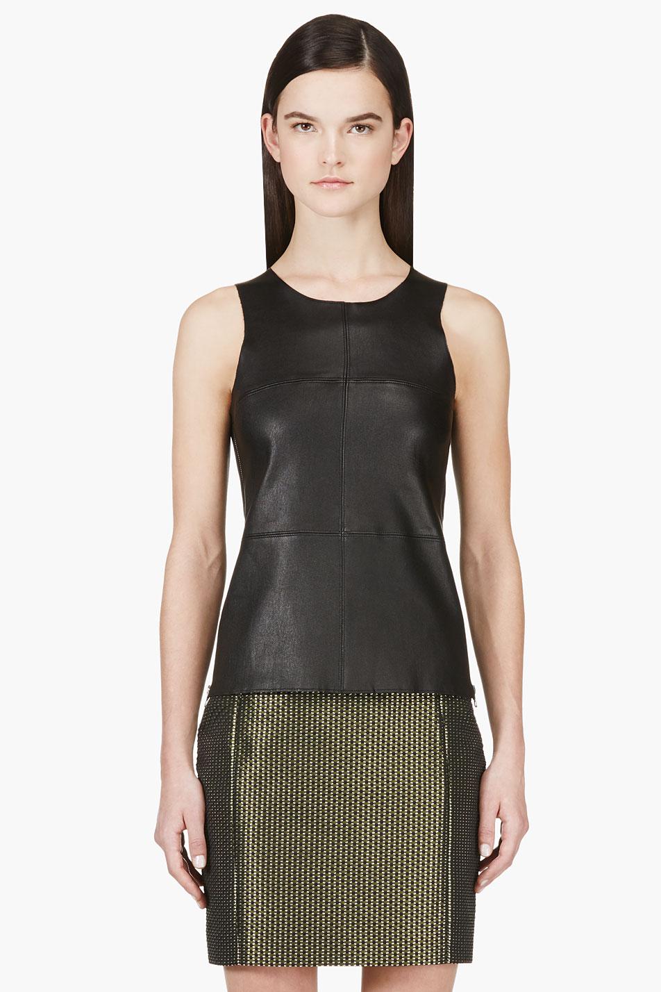 mackage ssense exclusive black stretch leather sierra tank top