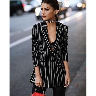jacket tumblr beautiful stripes striped blazer blazer bra black bralette bralette choker necklace black choker necklace streetstyle office outfits 90s style