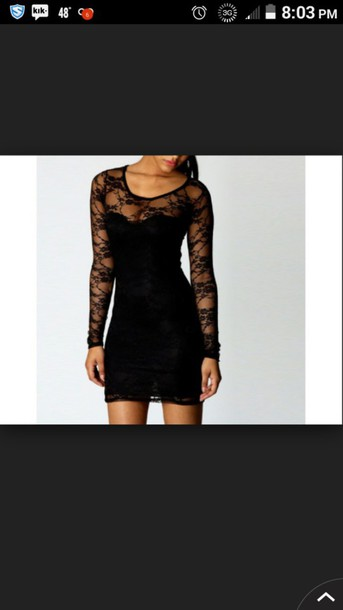 dress black dress lace short