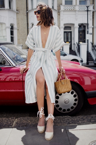 dress tumblr reformation reformation dress midi dress slit dress wrap dress bag basket bag sandals espadrilles wedges wedge sandals sunglasses shoes