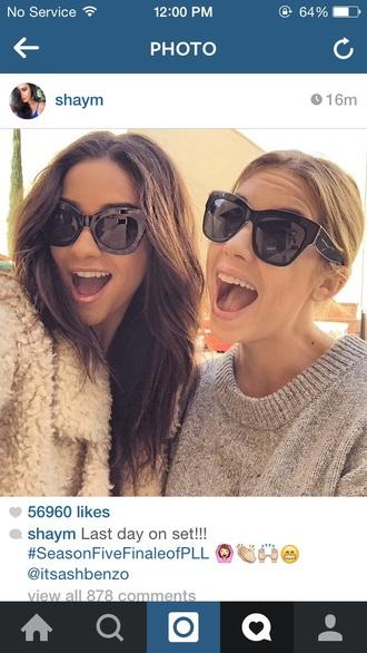 sunglasses ashley benson shay mitchell grey sweater fuzzy coat