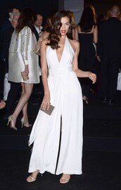 jumpsuit,wide-leg pants,all white everything,white,cannes,irina shayk
