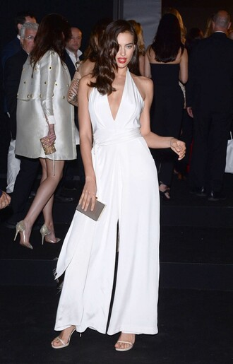 jumpsuit wide-leg pants all white everything white cannes irina shayk