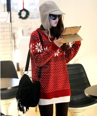 sweater red sweater red and white leggings oversized sweater christmas sweater fur hat