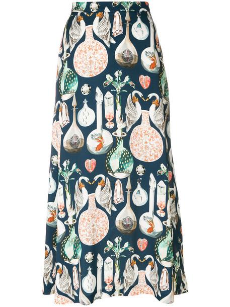 Temperley London skirt midi skirt women midi love blue