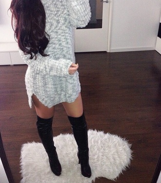 dress knitted sweater knitted dress grey dress grey sweater