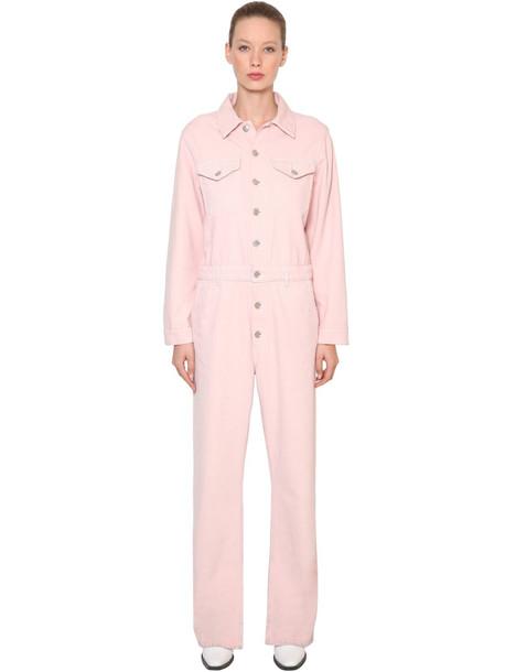 GANNI Sheldon Cotton Denim Jumpsuit in pink